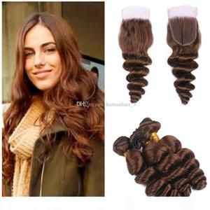 Светло-коричневые кружева Закрытие пачками малазийский Девы волос Шатен человеческих волос утками с кружевом Закрытие отбеленные узлы 4 * 4 Top Lace