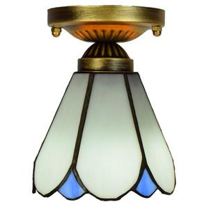 현대 미니멀 화이트 천장 통로 발코니 베이 창 작은 천장 램프 저렴 티파니 스타일의 스테인드 글라스 천장 TF093 조명
