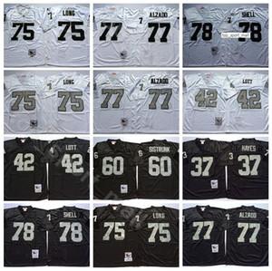 NCAA Football 75 Howie Long Jersey 37 Lester Hayes 42 Ronnie Lott 77 Lyle Alzado 78 Art Shell Bo Jackson Homme Vintage Noir Blanc