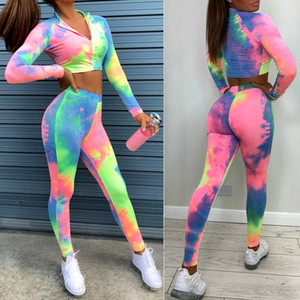 Women 2-Piece Outfit Clothes Set Tie Dyeing Patterns Zippered Long Sleeve Crops Top Long High Waist Skinny Elastic Band Pants