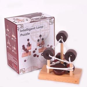 Holz 3D Puzzle Spielzeug Topologie Spielzeug Intelligente Schleife Puzzle Kong Ming Schloss Aufreihen Entriegeln Lösen Die Seil Geschenke Spielzeug Für Kinder