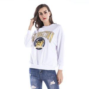 2019 Femmes Sweats Sweats à capuche Pull caractère imprimé Pullovers mignon Top manches longues col O Polaires Hauts YY5573