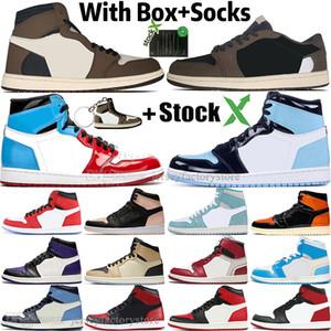 1 Haut Travis Scotts bas sans Peur Obsidian Hommes Chaussures de basket Spiderman UNC Top 3 1s Chicago Banned Bred de Toe femmes hommes de sport Chaussures de sport