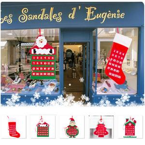 Nova Natal Advent Calendar Wall Hanging Xmas Ornamento dos desenhos animados Papai Noel Stocking Count Down Calendário de Natal Decoração HH9-A2553