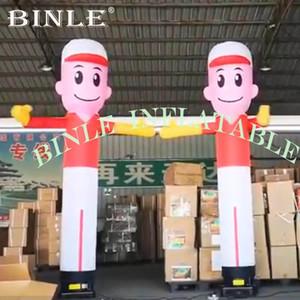 10 ft / 3m bailarín del aire del cielo Bailarín inflable del tubo hombre con la mano agitando hombre de marionetas del viento vuelo promocional globos publicitarios Wave