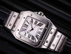 роскошных мужские часы Top Brand Men Square Часы Geneva Подлинная из нержавеющей стали Кварцевые часы мужские моды высокого качества