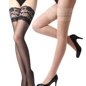 Calidad de las mujeres de las señoras del cordón atractivo floral superior banda de silicona Stay Up muslo medias altas pantimedias venta caliente C18122201