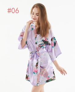 Bayanlar Yaz Pijama Ince Elbise Güzellik Gelin Sabah Elbise Ipek Kimono Bornoz Pijama Gecelik Pijama Kırık Çiçek Kimono Iç Çamaşırı