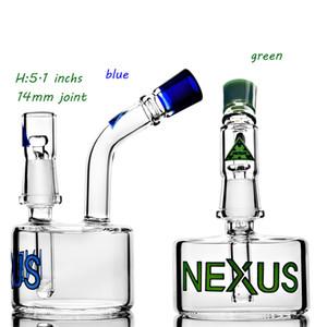 5.1 Inchs nexus thick glass bongs blue green smoking water pipes mini dab oil rig heavy glass Beaker bongs hookahs shisha