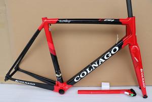 15 Color Colnago C64 carbone cadre de vélo T1100 carbone cadre de vélo de route finition brillante noir rouge avec décalque blanc
