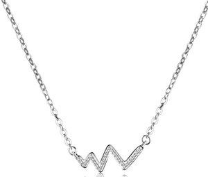Zircon Wave W Letter Pendant Necklace Women Fashion Simple New Jewelry