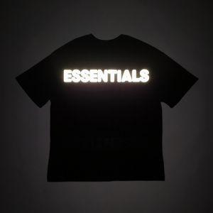 Temporada 7 El temor de dios camiseta de algodón camiseta 3M reflector trasero Cartas Niebla ESENCIAL de gran tamaño camiseta de verano Fear Of God camiseta Streetwear