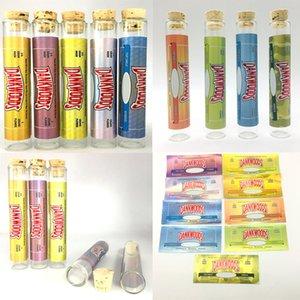 Dankwook Vacío previo al video Conjunto de empaquetado del tubo de cristal con los cigarrillos pegatinas Preroll borosilicato de vapor tubos de vidrio Pre Rolls E para hierba seca