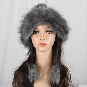 امرأة الشتاء محبوك قبعات فو فرو الثعلب الكرة قبعة دافئة سميكة من الصوف الشعر متماسكة الكرة بوم بوم غطاء للأذنين القبعات بنات الإناث تزلج كاب