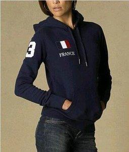 Caballo grande polo de las mujeres sudaderas con capucha bordado EE.UU. Francia Italia bandera de país de jogging Deporte Sudaderas abrigos con capucha de la chaqueta azul marino Tamaño S-XL