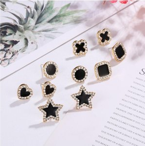 S925 silver needle European and American earrings simple fashion classic simple set diamond star love square earrings female