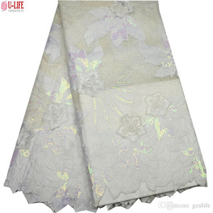 Últimas Africano Tulle Lace 2019 Francês Cor Net Lantejoula Lace Fabric para o casamento de malha bordado Africano Lace Tecido F4-822
