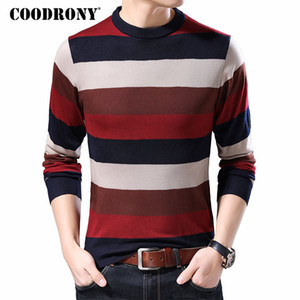 COODRONY Marca Sweater Homens Algodão Knitwear Pull Homme Streetwear Moda Striped capuz Homens Outono Inverno Mens Camisolas 91038