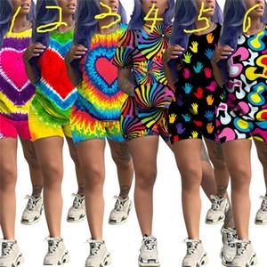 Summer Women Outfits Tie-Dye Big Heart Print Shorts Set 2 Piece Tracksuit Homewear Sports Suit Casual Streetwear Short Sleeve Pajamas C71604
