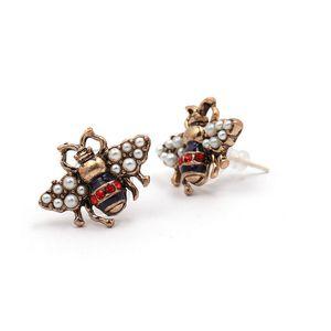 Women Bee Designer Stud Earring Vintage Bee Rhinestone Pearl Luxury Earring Famous Jewelry Accessories