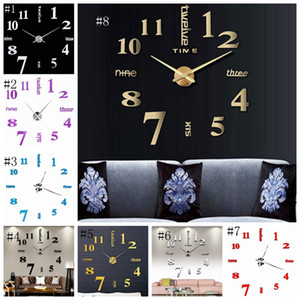 Horloges murales 3d décoration réelle grande horloge diy sticker mural miroir bousculés salon noël maison de mur 8 couleurs DSL-YW1605