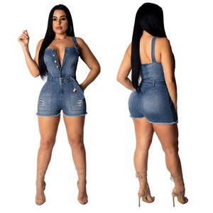 Women Summer Sexy Jumpsuits Brand Womens V Neck Shorts Jumpsuits with Button and Sashes Women Sexy Strapless Halter Hole Jumpsuit wholesale
