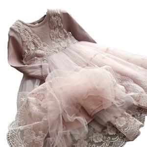 Outono inverno meninas vestido 2018 casual mangas compridas lacemaesh crianças vestidos para menina outono roupas bonitinho princesa vestido