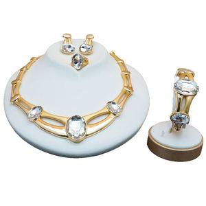 Buntes Steinschmuckset für Damen Damen Brautschmuck Sets Luxuriöse Halskette in Schmucksets gesetzt Stud Drop Errings Schmuck