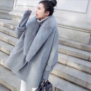 Новый корейский Кашемир пальто Пальто Женская ветровка куртки пальто рубашка Мода Сыпучие Повседневный Большие Fur расходы осень и зима