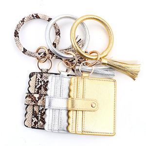 S1030 Women Girls PU Leather Bracelet Key Ring Bangle Keyring Ring Circle Keychain Wristlet Keyrings Jewelry with Wallet Card Purse