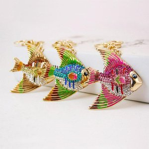 Cute Cartoon Pet Tropical Fish Keychain - Rhinestone Womens Car llavero anillo Holder Bag colgante encanto joyería de moda