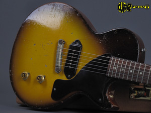 Rare 1957 Junior Tobacco Sunburst Dark Brown Heavy Relic Electric Guitar Single Cut Body, 1 Piece Neck (No Scarf Joint), P-90 Dog Ear Pickup