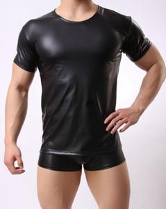 Sexy en cuir noir hommes PU Tight Muscle manches courtes T Shirt Débardeur Top T Gym Clubwear ras du cou