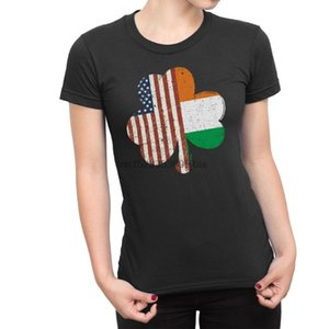Irish American SHAMROCK Ladies T-shirt Irlanda St Patricks Day Paddy Trifoglio