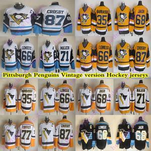 Pittsburgh Pittsburgh طيور البطريق CCM خمر الفانيلة 87 كروسبي 71 Maklin 66 Lemieux 35 باراسو 68 ججر 77 coffey هوكي جيرسي