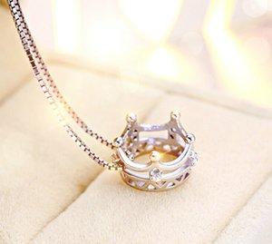 Anenjery 925 Sliver Princess Crown Pendentif Zircon neckace pour les femmes cadeaux 45cm Box chaîne choker collares kolye S-N92