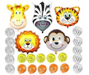 Jungle Safari 25pcs Thème Latex Balles Animaux Ballons Foil Tête Cadeaux Bébé Fête Journée anniversaire d'enfants Décorations Singe Tiger Lion Zebra