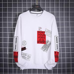 OLOME Hip Hop con cappuccio degli uomini di modo Outwear 2020 nuovo Mens di disegno Streetwear Felpe Felpe Harajuku Top White Felpa