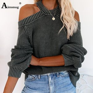 Aimsnug Langarm-Halter Pullover aushöhlen Schulter Pullover Pullover 2020 Herbst-Mode Unregelmäßige Female Chic Strickoberteile