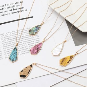 Free Shipping Multi-Colors Geometric Cute Simple Pendant Sweet Necklace, Abalone Shell Pretty Girls Jewelry Popular Wholesale