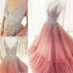 Impressionante prata brilhante Beadings Beads Quinceanera Vestidos Doce 15 Prom Vestidos V Sheer Formal Neck Ruched Longo Vestidos