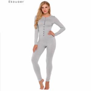 Casual Ekouaer Onesie adulto Conjunto de pijama mujer de manga larga sólido delgado de la ropa de noche suave ropa de dormir pijamas Set Traje otoño Unión