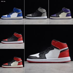 Top 1 1S High Basketball Shoes For Kids Sneakers 2019 Bred Toe Game Royal Pine Green Boys Girls Children Shoes Size 28-35