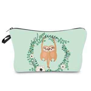 Animal Print sacos cosméticos bonito Mulheres Handbag de viagem Artigos de higiene pessoal Organizador Bolsa Preguiça Imprimir composição dos desenhos animados Bag HHA1169