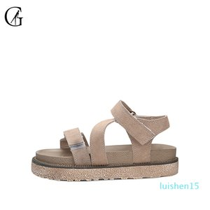 GOXEOU Kadın Sandalet Haki Süet Roman Kalın Sole Rahat Rahat Plaj Ayakkabı L15