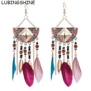ewelry & Accessories LUBINGSHINE Vintage Long Bohemian Style Leaf Feather Hanging Drop Earrings Female Indian Jewelry Ear Pendant Tassel ...