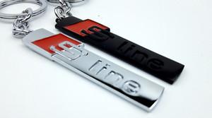 شعار 1PCS التصميم المعادن السيارات الجديدة سلسلة المفاتيح اسود فضي شعار كيرينغ لأودي مفتاح sline الرياضة عصابة سلسلة حامل مفتاح