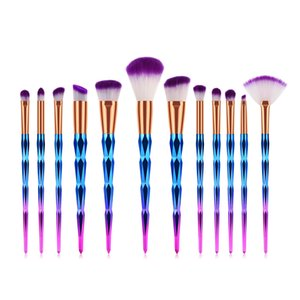 12Pcs Diamond Makeup Brush Set Foundation Powder Brush Blending Eye shadow Lip Cosmetics Beauty Blending Brush Make Up Tools Multifunctional