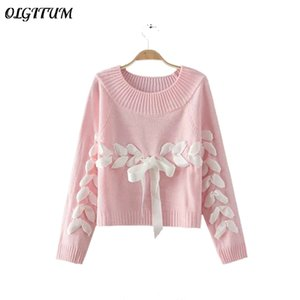 OLGITUM 2019 Fashion new ladies sweater solid color cute silk banded bowknot Loose sweater knitted pullover for female