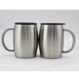 14 oz de acero inoxidable de café tazas de cerveza con tapa de 14 oz de pared doble con aislamiento Café Cerveza taza del té vaso con mango de la herramienta RRA2799